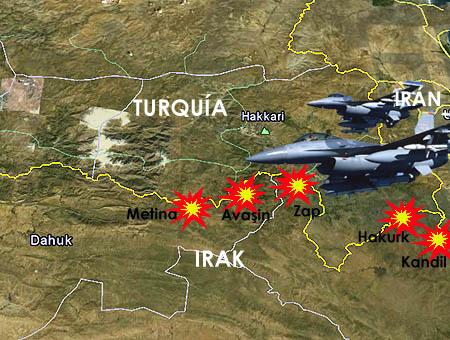 Cazas turcos bombardean las bases del PKK en el norte de Irak