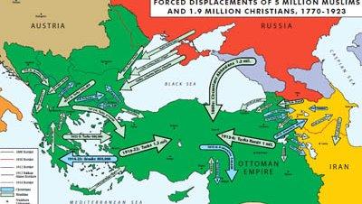 Mapa refugiados musulmanes turcos imperio otomano