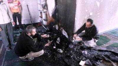 Mezquita quemada Cisjordania