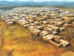 Representación artística del asentamiento neolítico de Çatalhöyük