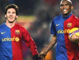 Messi junto a Eto'o durante la etapa del camerunés en el Barça
