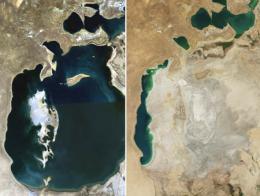 El Mar de Aral en 1989, cuando ya había perdido un tercio de su superficie, y en 2014