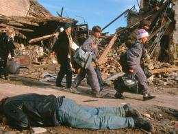 Huida de la población croata de Vukovar en 1991