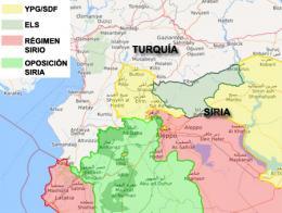 Mapa que muestra la actual situación de la guerra civil en Siria, con el cantón de Afrin en el extremo noroeste