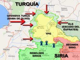 Mapa que muestra la situación actual de la ofensiva turca contra el YPG en Afrin