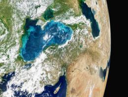Imagen del satélite Aqua de la NASA que muestra la proliferación de fitoplancton en el Mar Negro a finales de mayo