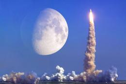 Espacio lanzamiento cohete luna