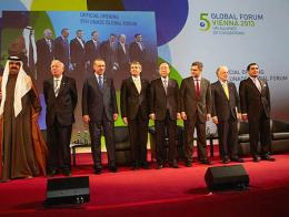 Margallo posa junto con Erdoğan, Ki-Moon y otros líderes durante una reunión de la UNAOC en 2013 | Fuente: Ministerio de Asuntos Exteriores de España