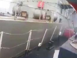 El momento de la colisión, captado desde el barco turco