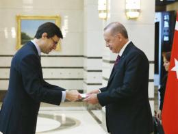 El embajador Juan González-Barba Pera ante el presidente turco Tayyip Erdoğan