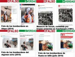 Imágenes falsas publicadas por el YPG como supuestos ataques turcos