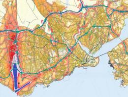 Mapa de ruido de Estambul: en azul las zonas con mayor contaminación acústica, en rojo y naranja las que menos