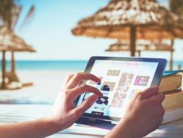 Turismo playa internet tablet