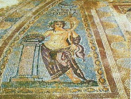 Imagen del mosaico robado en Acmonia en el año 2000