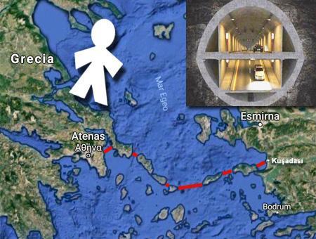 El trazado del túnel submarino bajo el Egeo, según la propuesta del proyecto