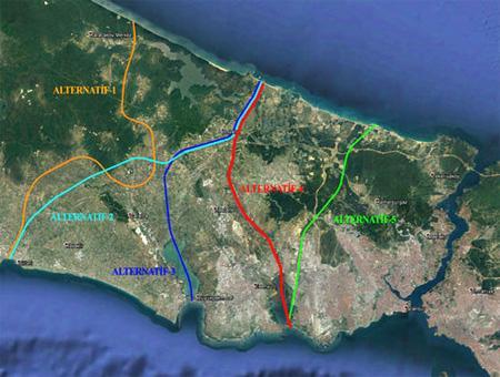 Las rutas propuestas para el Canal Estambul. La ruta elegida (4) aparece en rojo.