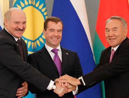 Los presidentes de Bielorrusia, Rusia y Kazajistán