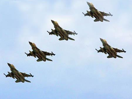 Cazas f16 ejercito israel