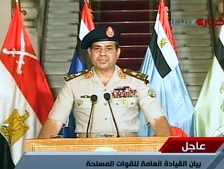 El general Al-Sisi comparece ante la televisión egipcia para anunciar la formación de un gobierno de transición.