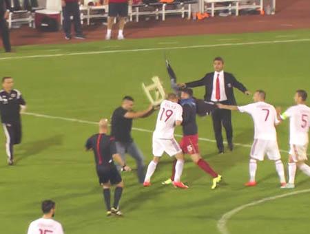 Serbia albania partido incidentes