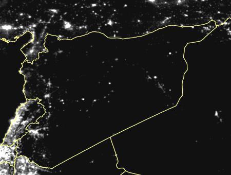 Siria imagen satelite noche