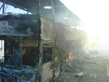 52 muertos al incendiarse un autobús en Kazajistán