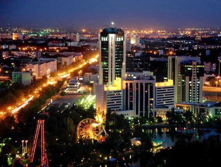Uzbekistan taskent ciudad noche