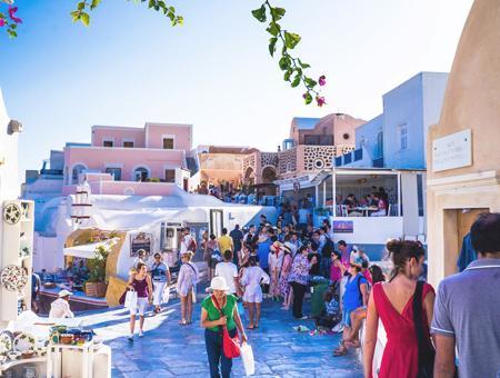 Grecia turismo turistas santorini