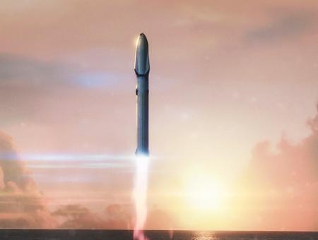 Representación artística del nuevo cohete de SpaceX, el Starship/BFR