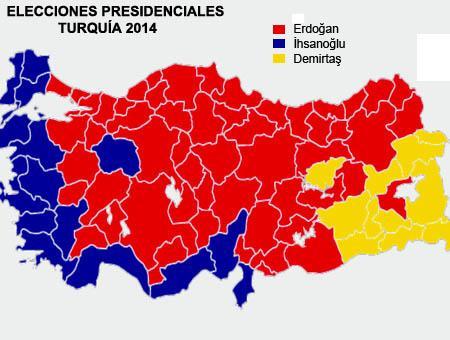 Mapa electoral de las presidenciales del 10 de agosto