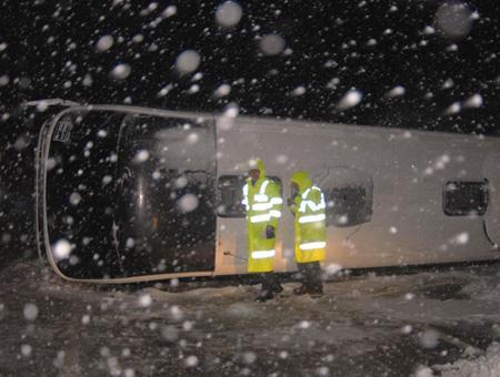 Erzincan accidente autobus nieve