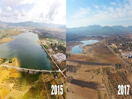 Imagen comparativa de la presa de Mumcular, en la provincia turca de Muğla