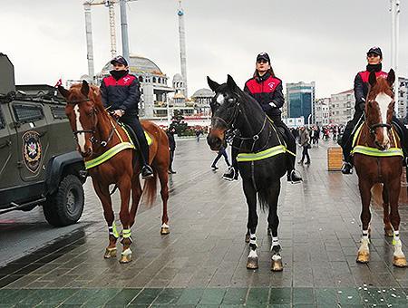 Estambul taksim policia caballo