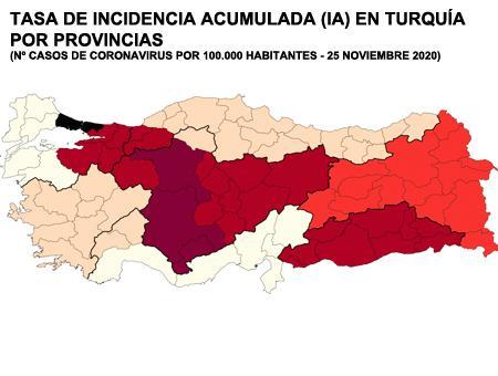 Turquia mapa incidencia coronavirus