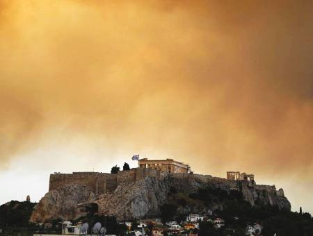 Grecia atenas cielo incendios