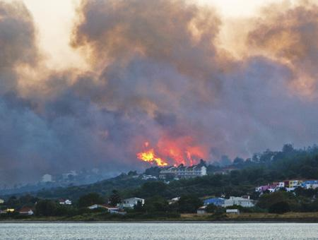 Grecia isla samos incendio